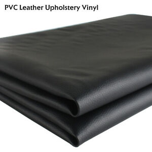 Black Marine Faux Vinyl Leather Fabric Recover Auto Upholstery Mildew Resistance