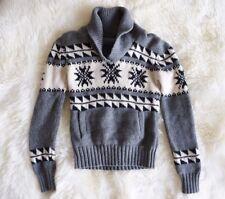 Aritzia M TNA Sweater Sea To Sky Cowichan Lambswool Print Zip Grey Fair Isle S