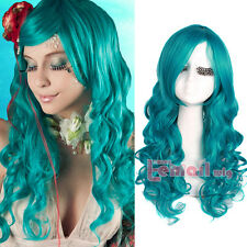 USA Ship Sailor Moon Neptune Blue Green 65cm Long Curly Wave Hair Cosplay Wigs