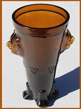 "Amber Brown Glass Mold Art Bear Head Animal Feet Vase 7.5"" RARE"
