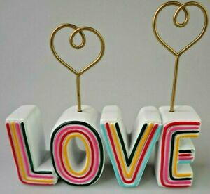 Retro LOVE Desktop Note Picture Holder Paperweight White Multicolored Resin