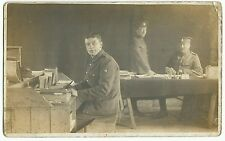 WW1 Group RP PPC Unposted, Unidentified Staff in Tent at Makeshift Desks