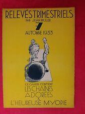 revue ancienne:RELEVÉS TRIMESTRIELS /Jean Bruller/n° 7 printemps 1933