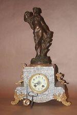 Pendule marbre et régule Art Nouveau - mouvement de Paris révisé : Parfum d'Iris