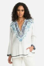 Johnny Was  Vedera  cotton blue embroidered flint S