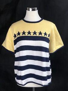 Croft & Barrow Yellow White Blue Stars & Striped Sweater Size L