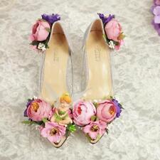 Women Flower Stiletto Mid Heels Wedding Shoe Clear Brides Rhinestones Party Y605