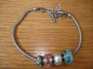 PERSONA CHARMED MEMORIES BRACELET & 4 CRYSTAL BEADS SAFETY CHAIN STERLING SILVER