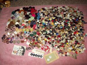 #1 Vintage Button Lot 1500+ Metal Rhinestone Cloth Bakelite? Estate sale find