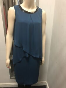 New Ex M&Co Teal Blue Chiffon Layered Beaded Neck Shift Dress Size 10