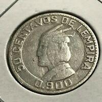 1937 HONDURAS SILVER 50 CENTAVOS