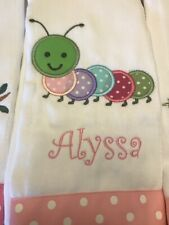 Custom Made Burp Cloth Baby Girl Caterpilar