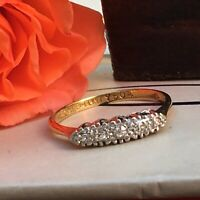 Art Deco 18ct Gold Platinum 5 Diamonds Ring Sz N-N1/2