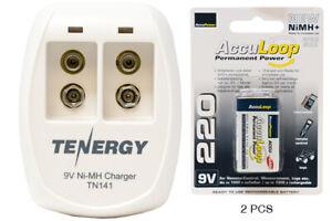 2 Bay 9V Smart Battery Charger + 2-Pack 9 Volt AccuLoop NiMH Batteries (220 mAh)