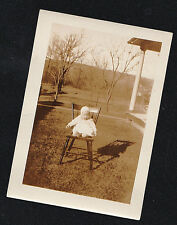 Vintage Antique Photograph Adorable Little Baby Sitting in Chair in Yard