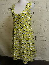 Unique hand-made acid yellow sun-dress with cow print, size 16, lined, quirky!