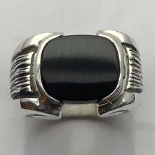 MJG STERLING SILVER MEN'S RING.12 X 14mm ANTIQUE CUSHION BLACK ONYX. BARK SIDES