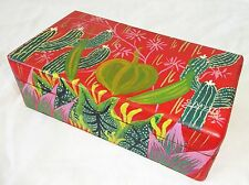 1980s Haitian Wooden Covered Boxes w Painted Cactus Motif by S. Bazile (Stea)