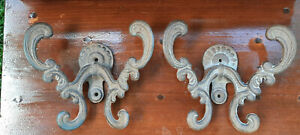 Pair Vintage Large Scrolling Double Cast Iron Wall Coat or Hat Hooks
