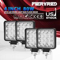 4PCS 4 Inch Square LED Work Light Bar 80W Flood Beam Offroad Driving Lights Pods
