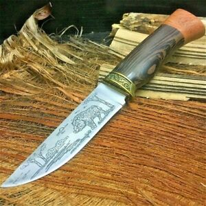 Hunting Handmade Knife Hand Forged Steel Blade Tactical Wood Handle Cut Warthog