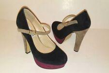 STEVE MADDEN Ankle Strap Platform Pumps-Heels Suede Black Womens Size 6.5 M
