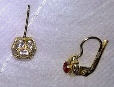 Vintage 1980s 9ct Gold Ball Crystals Stud/9ct Gold Garnet Earring, Pierced Ears