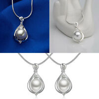 New Round Cultured Pearl Pendant Silber Color Grading Alloy Necklace 2.5*1.4cm.#