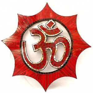 Hindu Wall Art Large Om Wall Hanging Plaque Glass Mosaic Red Mirror *Gift Idea*