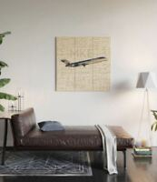 Midwest Express Airlines Boeing 717 with Airport Codes - 3' x 3' Wood Wall Art