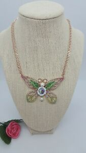 """BETSEY JOHNSON butterfly crystal cluster rose-gold frontal statement necklace14"""""""