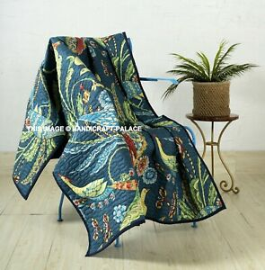 Indian Handmade Blue Bird Kantha Quilt Throw Reversible Sofa Bed Blanket Cotton