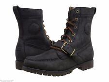 Polo Ralph Lauren Ranger Strap Black OIL BURNISH NUBUCK leather Boots 14 Mens