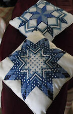 "Decorator Pillows 2 blue needlepoint star design on white 10"" square"