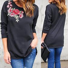 Damen Bluse Hemd T-Shirts Stickerei Patch Top Casual Langarm Shirt Oberteile