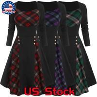 US Women Plaid Check Vintage Skater Dress Christmas Steampunk Gothic Swing Dress
