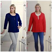 KNITTING PATTERN Ladies Smock Fold Top and Cardigan Glitz DK King Cole 5252