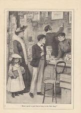 EDWARDIAN LADY CHILDREN SHOPPING IN GENERAL STORE ANTIQUE ART PRINT 1906