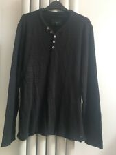 Jasper Conran Jumper XL Button Neck Black/Brown Stripe Cotton