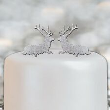 Reindeer Christmas Cake Topper Decoration Silver X2 Set Sale Merry Xmas Gift NEW