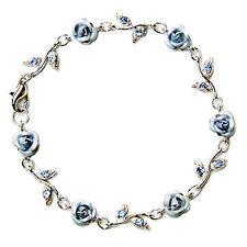 ~Blue ROSE FLOWER made with Swarovski Crystal Floral Bridal Wedding Bracelet NEW