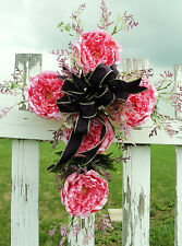 Grave Flower Pink Peonies Cemetery Cross Door Window Wall Religious White Cross