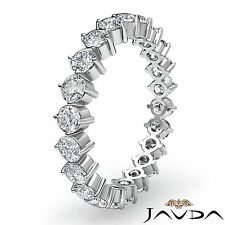 Round Prong Diamond Wedding Eternity Band Womens Ring in 18k White Gold 1.40Ct