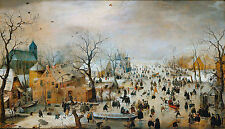 Old Masters reprint (v1f192) Winter Landscape with Iceskaters H.Avercamp c1608