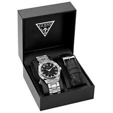 NEW GUESS MENS WATCH STAINLESS STEEL BRACELET AND BLACK STRAP BOX SET U10584G1