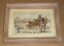 1966 3D ANTON PIECK DIMENSIONAL LITHOGRAPH PRINT ART OLD AUTO HORSE BUGGY HOBO