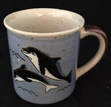 Vintage Otagiri Dolphins Porpoise Hand Painted Mug Japan Original Sticker