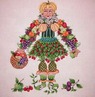 "KW 6024 ""Fruit Lady"" by TS Designs HP Hand Painted Needlepoint Canvas"