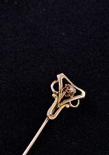 BEAUTIFUL ART NOUVEAU 10K YELLOW GOLD DIAMOND STICK PIN