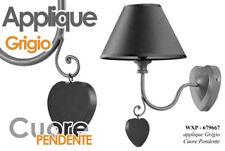 LAMPADA APPLIQUE H33*20 CM PLAFONIERA METALLO GRIGIO CUORE PENDENTE WXP 679667